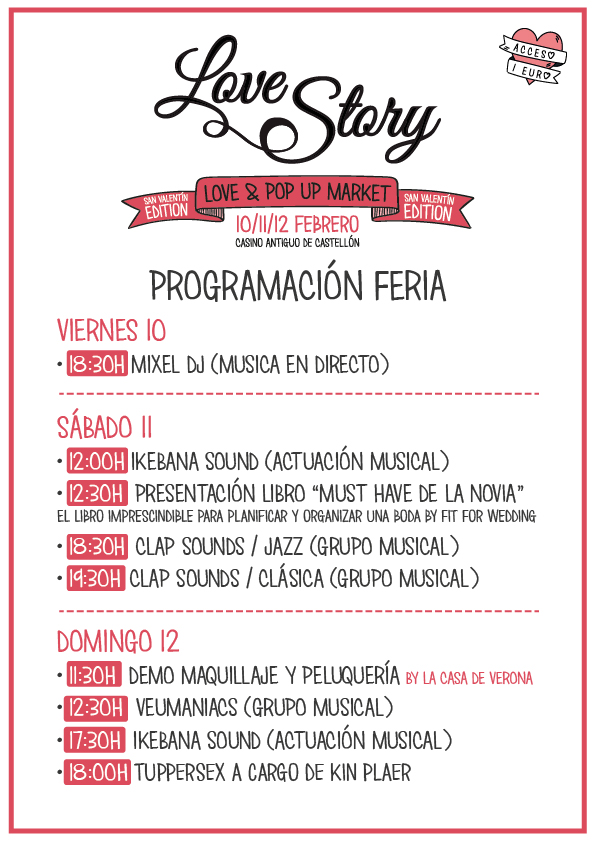 Programación Love Story Fair Real Casino Antiguo de Castellón
