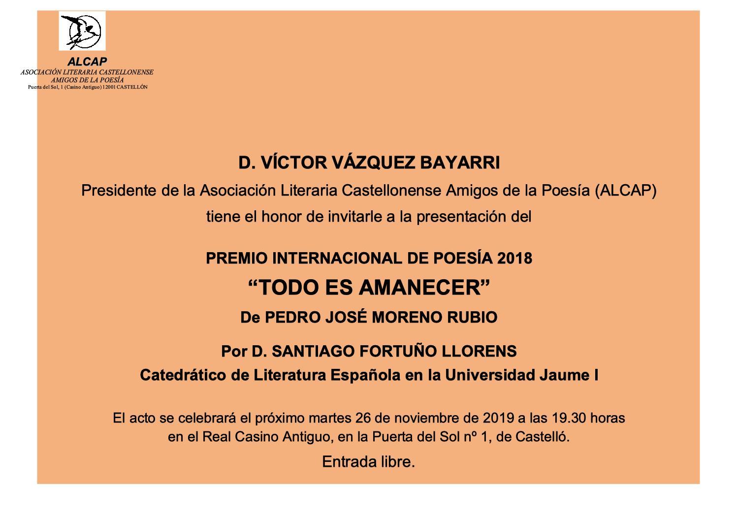 INVITACIÓN NOVIEMBRE 2019 - PRESENTACIÓN PREMIO