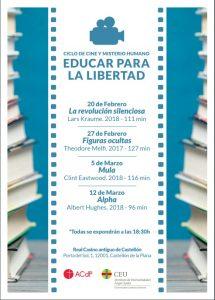 Cartel ciclo Cine CEU Educar para la libertad